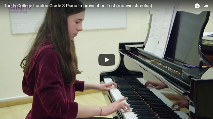 Example piano improvisation test (motivic stimulus): Grade 3