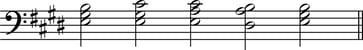 Grade 4 - Chord sequence in E major LH