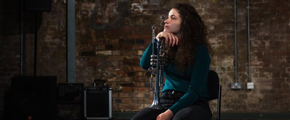 Zoe Perkins with trumpet